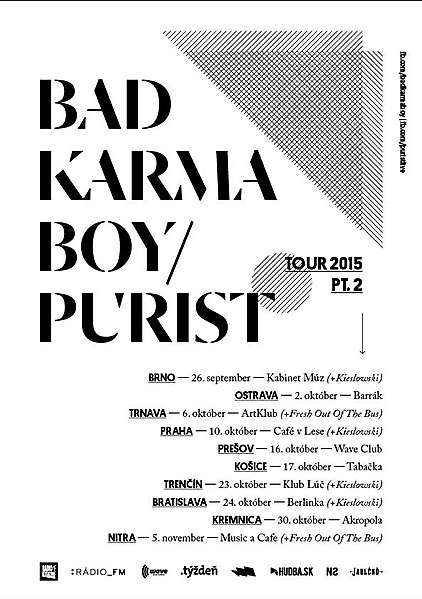 Turné BAD KARMA BOY + PURIST (hostia FRESH OUT OF THE BUS) v trnavskom ArtKlub-e + súťaž